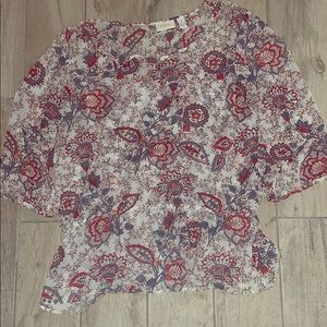 Chico's floral since waste 3/4 sleeve blouse